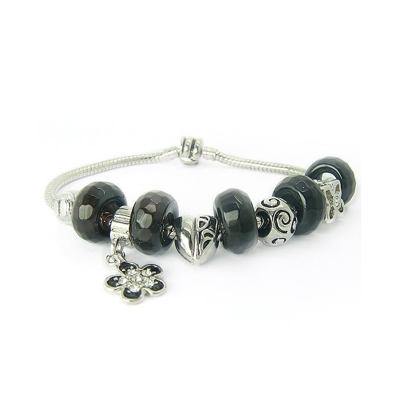 Bracelet EUR agate noire facettée