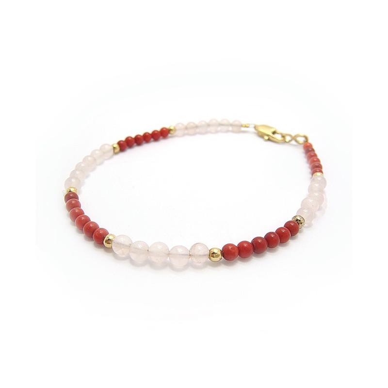 Bracelet corail et quartz rose