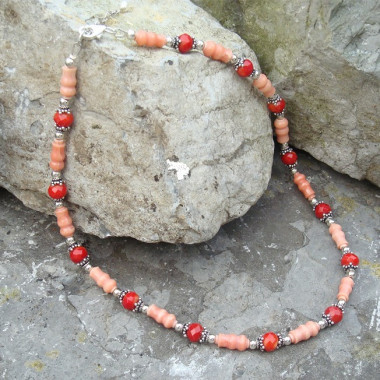 Collier corail rose et rouge