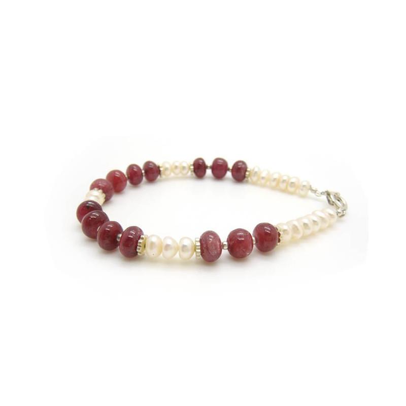 Bracelet en perles biwa et véritable rubis