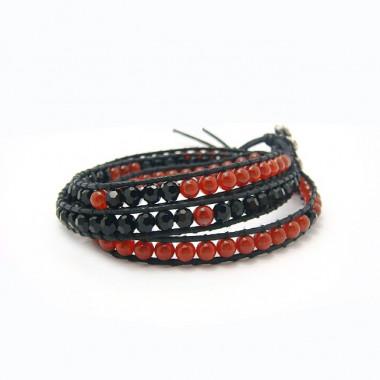"""Bracelet """"wrap"""" agate rouge et cristal de bohème"""