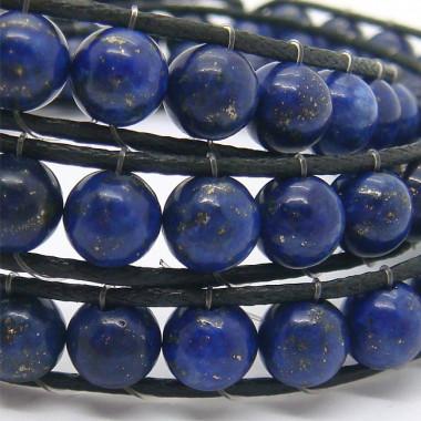 """Bracelet """"wrap"""" 3 rangs lapis lazuli"""
