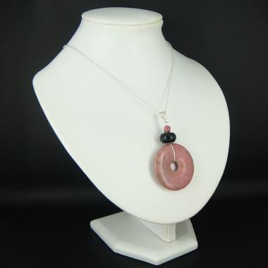 Chaîne avec pendentif donut en rhodonite et onyx