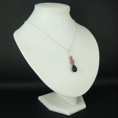 Chaîne avec pendentif rhodonite et onyx