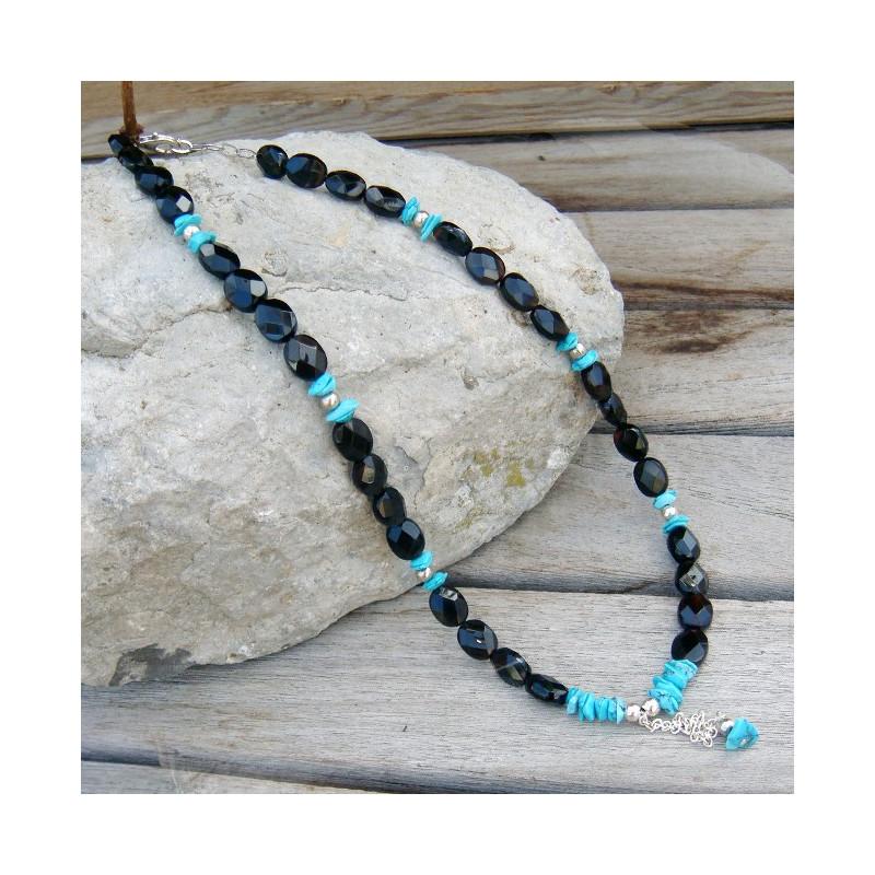 Collier onyx et turquoise
