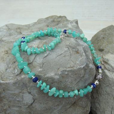 Collier chrysoprase et lapis lazuli