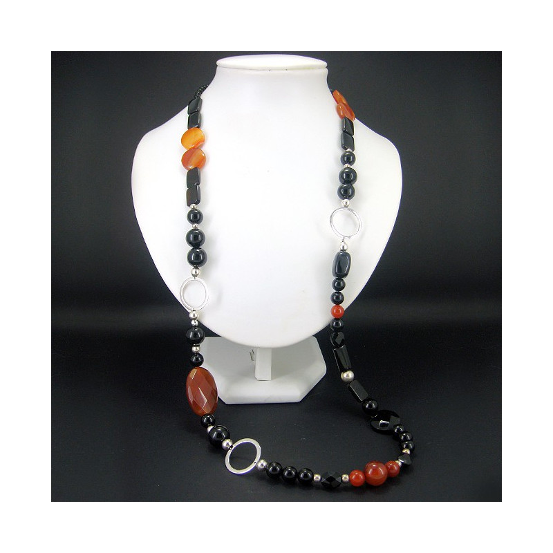 Collier long onyx et cornaline
