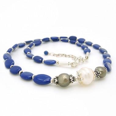Collier lapis lazuli reconstitué et perles biwa