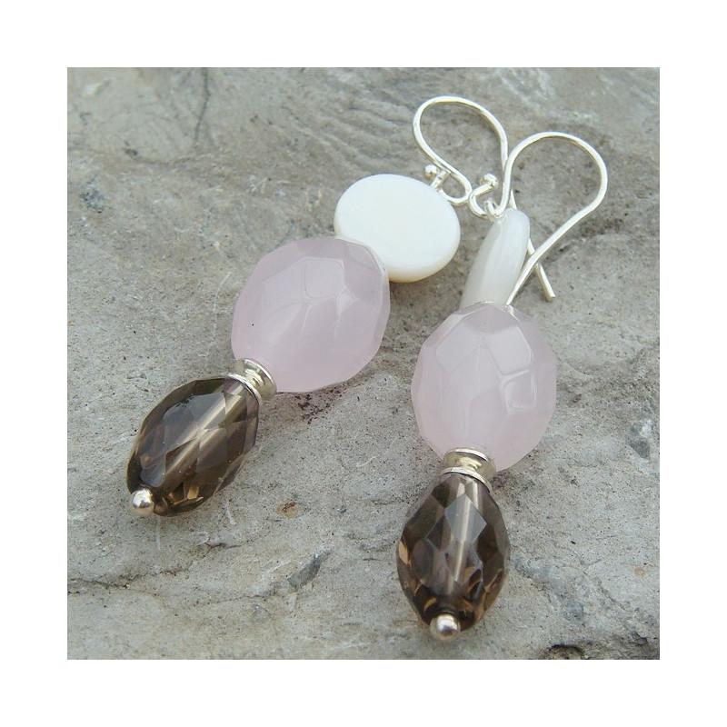 Boucles d'oreilles quartz rose, fumé et nacre