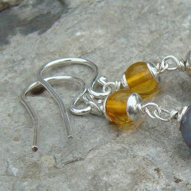 Boucles d'oreilles ambre et biwa