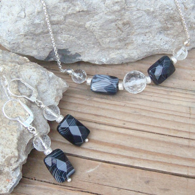 Parure cristal de roche et agate noire, ag 925