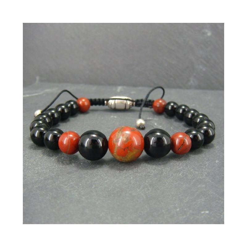 Bracelet homme onyx et jaspe bréchique
