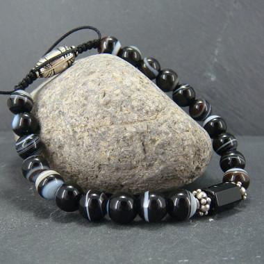 Bracelet homme agate noire et onyx