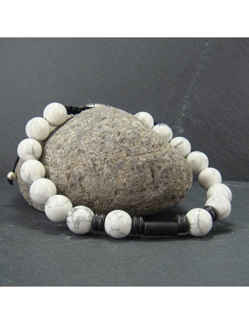 Bracelet homme howlite et pierre de lave