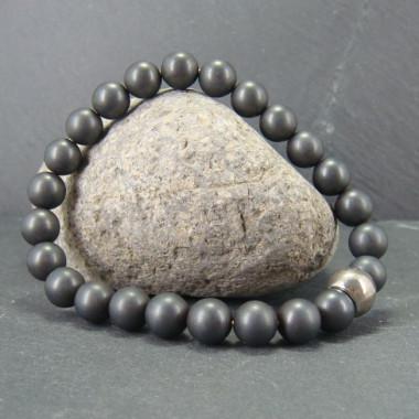Bracelet homme hématite mate et pierre de lave