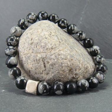 Bracelet homme obsidienne neige