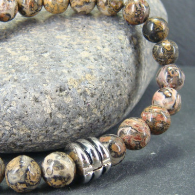 Bracelet homme jaspe léopard