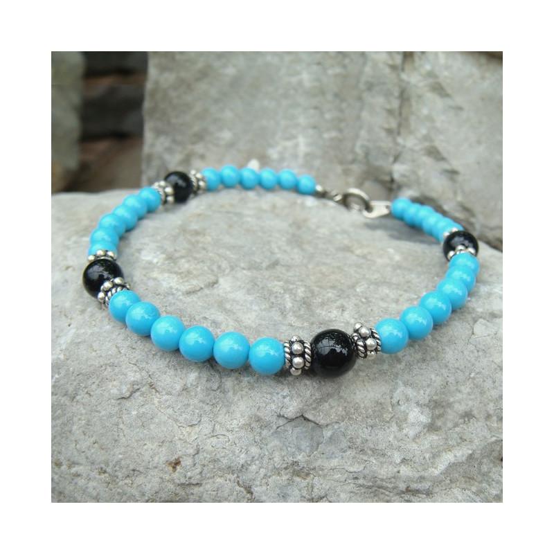 Bracelet turquoise et onyx sur argent 925
