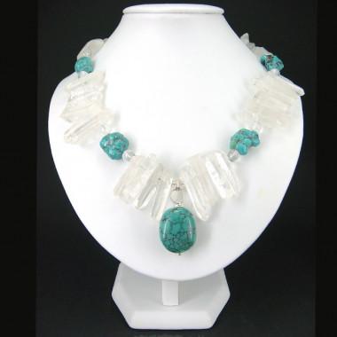 Collier turquoise et cristal de roche