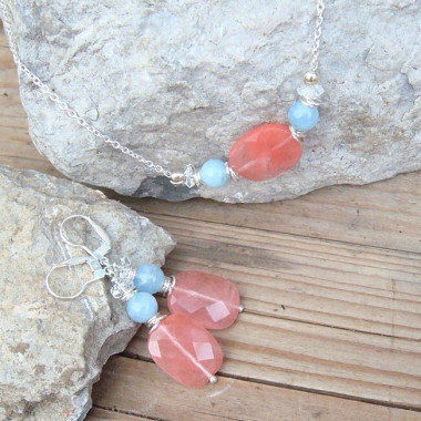 Parure quartz cherry,aigue-marine et cristal de roche, ag 925