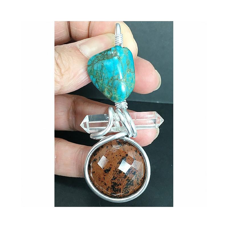 Pendentif énergétique turquoise, cristal de roche et obsidienne mahogany