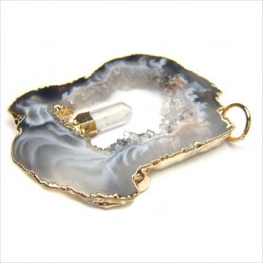 MADE IN BRAZIL - Pendentif agate et cristal de roche