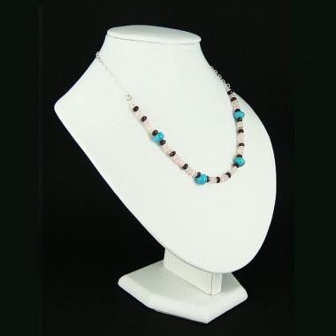 Collier chaîne grenat, quartz rose et turquoise