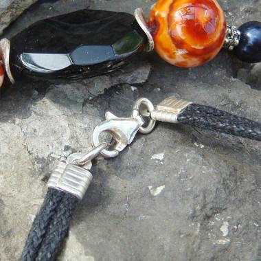 Parure agate noire, agate de feu et perle biwa