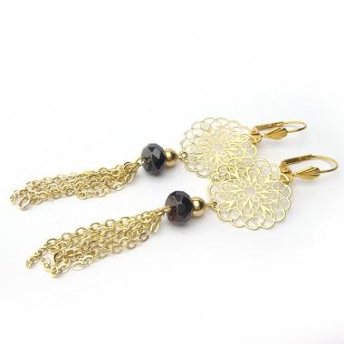 Boucles d'oreilles grenat et plaqué or