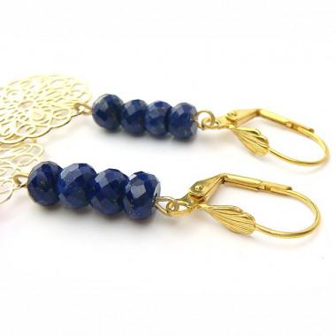 Boucles d'oreilles Lapis lazuli et plaqué or