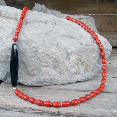 Collier corail et onyx