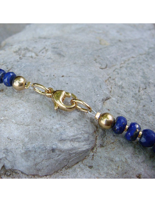 Collier lapis lazuli facetté et plaqué or