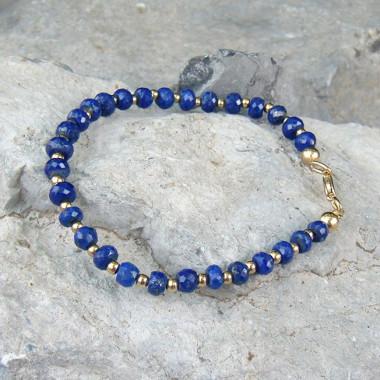 Bracelet lapis lazuli facetté et plaqué or