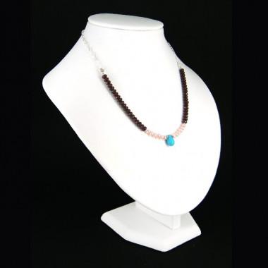 Collier chaîne grenat, perles d'eau douce et turquoise