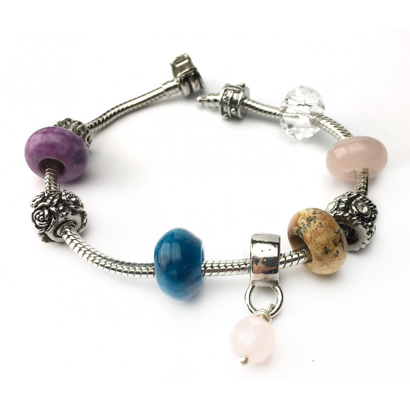 "Bracelet jaspe paysage, quartz rose, ""blue"" jade et ""deep purple"" jade."