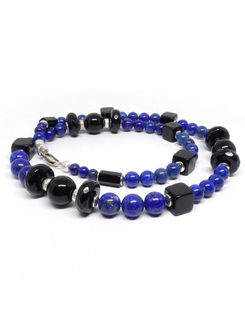 Collier lapis lazuli et onyx