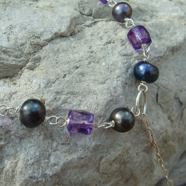 Collier améthyste et perles biwa - Ag 925