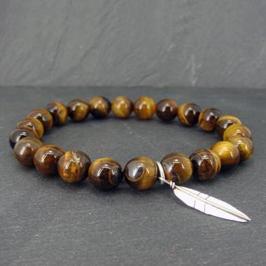 Bracelet homme oeil de tigre et feuille ag 925