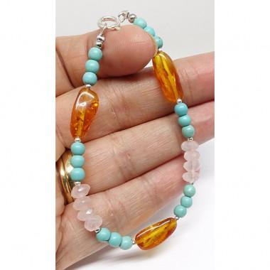Bracelet turquoise, quartz rose facettés  et ambre