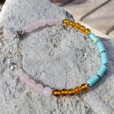 Bracelet tubes turquoise, quartz rose facettés et ambre