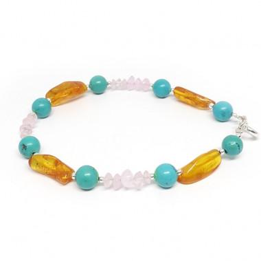 Bracelet turquoise, quartz rose et ambre