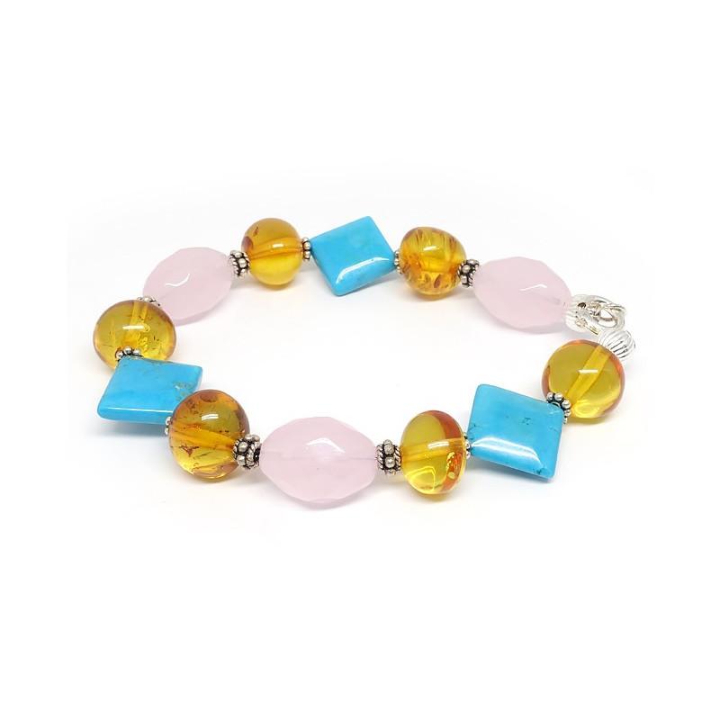 Bracelet groses pierres de turquoise, quartz rose et ambre
