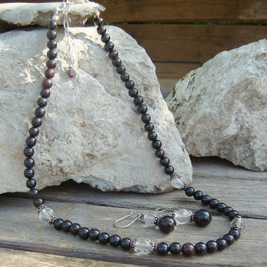 Parure grenat et quartz cristal de roche