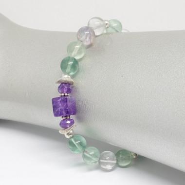 Bracelet en fluorite et améthyste