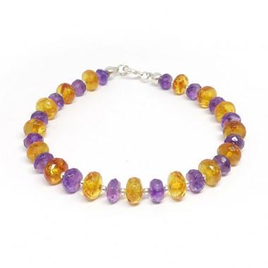 Bracelet ambre et améthyste facettées