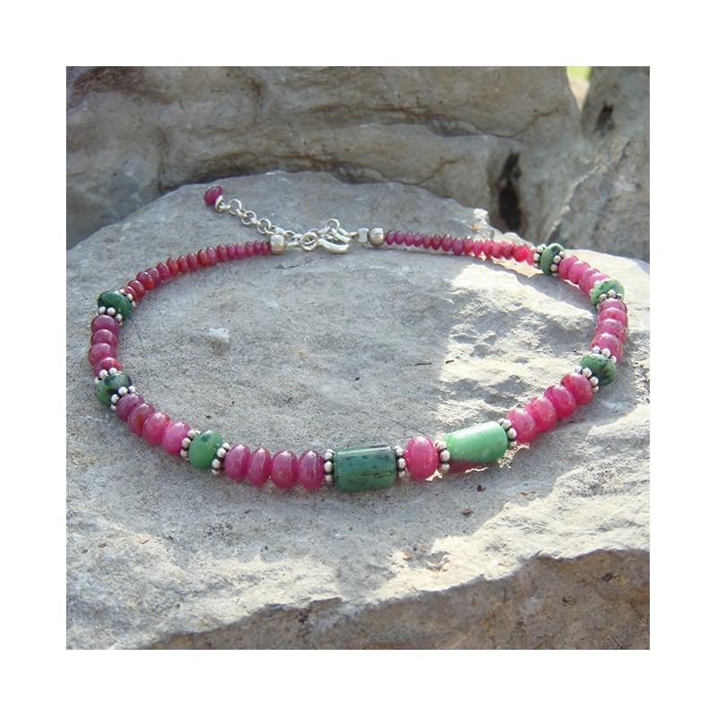 Bracelets en rubis et zoïsite