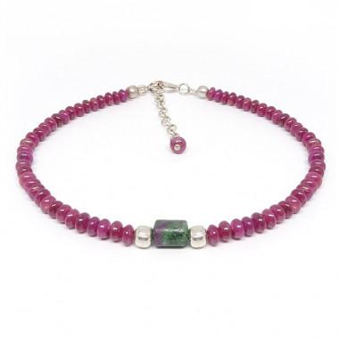 Bracelets en rubis et zoïsite perle centrale