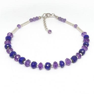 Bracelet lapis lazuli et améthyste facettés et argent 925