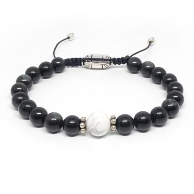 Bracelet homme obsidienne et howlite