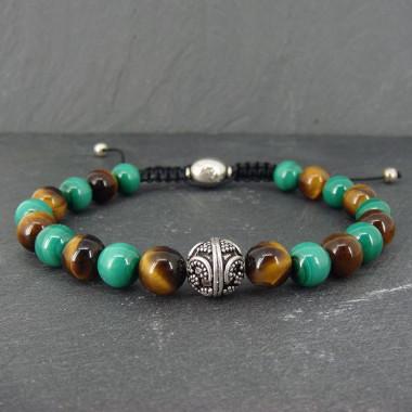 Bracelet homme oeil de tigre et malachite